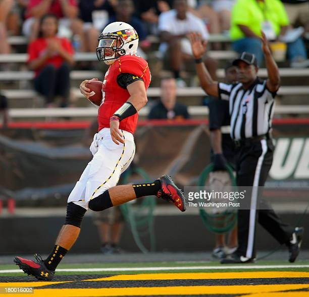 Maryland quarterback CJ Brown scores a 3rd quarter touchdown as the Maryland Terrapins defeat the Old Dominion Monarchs 47 10 in football at Byrd...