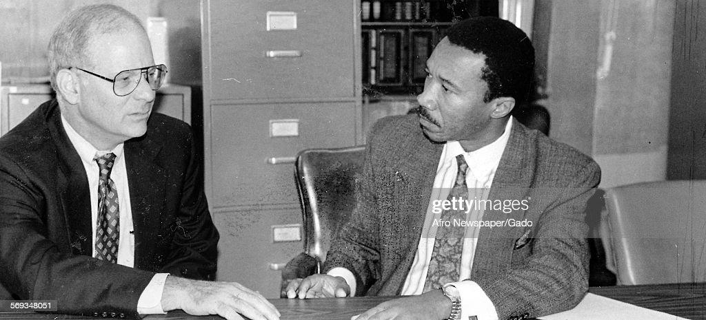 Maryland Representatives Ben Cardin and Kweisi Mfume at the Afro, Baltimore, Maryland, 1992.
