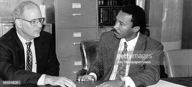 Maryland Representatives Ben Cardin and Kweisi Mfume at the Afro Baltimore Maryland 1992