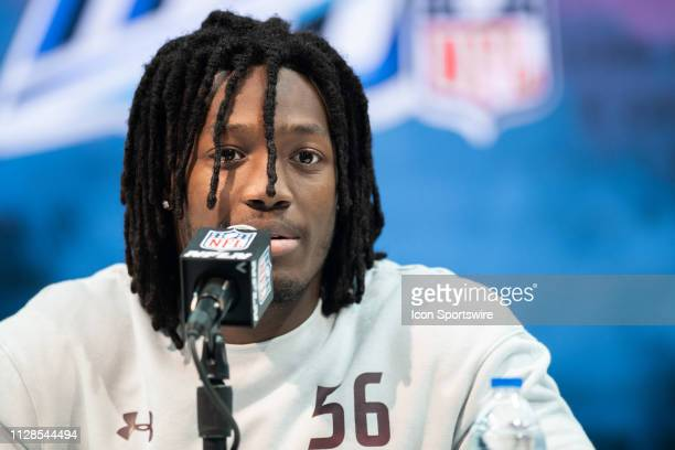 Maryland safety Darnell Savage answers questions from the media during the NFL Scouting Combine on March 3 2019 at the Indiana Convention Center in...
