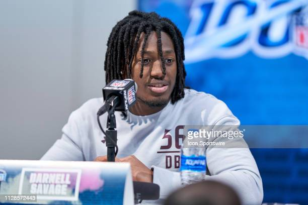 Maryland safety Darnell Savage answers questions from the media during the NFL Scouting Combine on March 03 2019 at the Indiana Convention Center in...