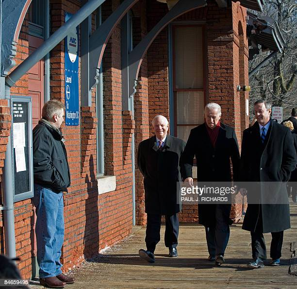 Maryland Senator Benjamin Cardin US VicePresident Joe Biden and Maryland Governor Martin O'Malley walk on the Laurel train station platform February...