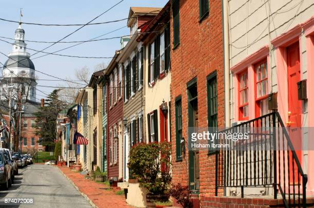 Maryland State Capitol Building and Townhouses, Annapolis, Maryland, USA.