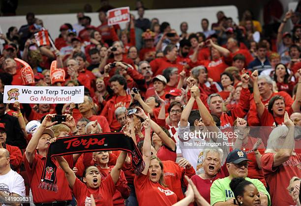 Maryland Terrapin fans cheer after their team defeated the Texas AampM Aggies to win a Regional Semifinal game of the Women's NCAA basketball...