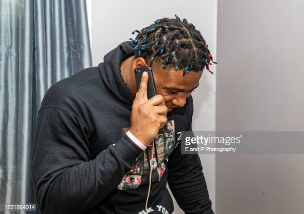 Maryland Terrapins Antoine Brooks Jr celebrates being drafted in the sixth round by the Pittsburgh Steelers on April 25 2020 at home in Lanham...