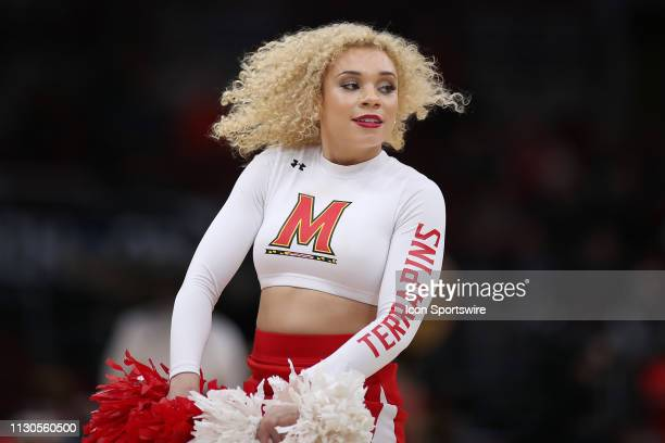 Maryland Terrapins cheerleaders perform in action during a Big Ten Tournament game between the Nebraska Cornhuskers and the Maryland Terrapins on...