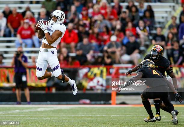 Maryland Terrapins defensive back Darnell Savage Jr and defensive back JC Jackson watch a catch by Northwestern Wildcats wide receiver Ramaud...