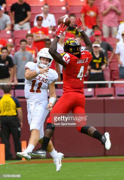 Maryland Terrapins defensive back Darnell Savage Jr blocks a pass attempt by Texas Longhorns quarterback Sam Ehlinger on September 1 at FedEx Field...