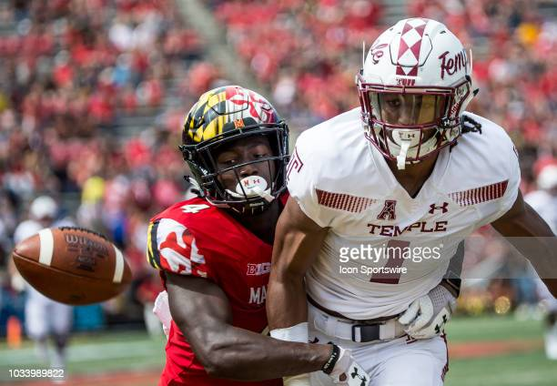 Maryland Terrapins defensive back Darnell Savage Jr breaks up a pass intended for Temle Owls wide receiver Ventell Bryant during a college football...