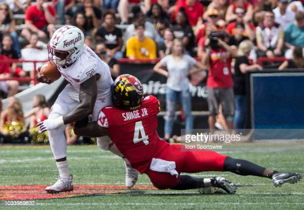 Maryland Terrapins defensive back Darnell Savage Jr brings down Temple Owls running back Ryquell Armstead during a college football game between the...