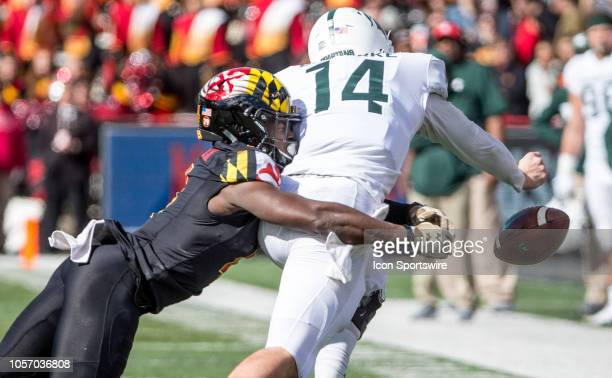 Maryland Terrapins defensive back Darnell Savage Jr downs Michigan State Spartans quarterback Brian Lewerke during a Big10 football game between the...