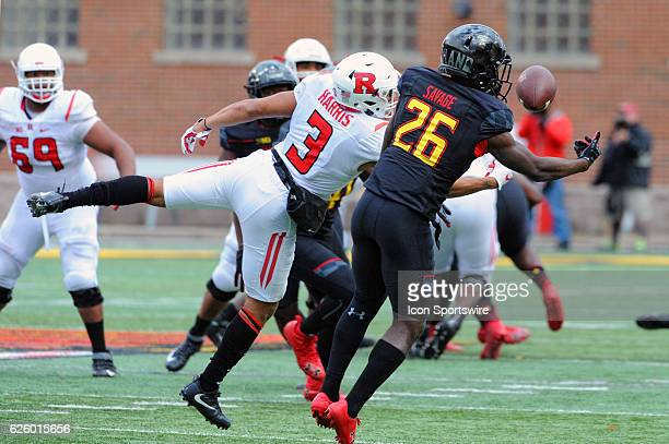 Maryland Terrapins defensive back Darnell Savage Jr nearly intercepts a fourth quarter pass intended for Rutgers Scarlet Knights wide receiver Jawuan...