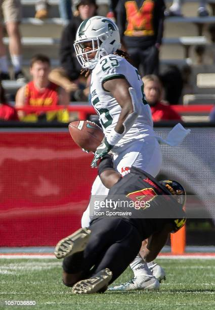 Maryland Terrapins defensive back Darnell Savage Jr pins downMichigan State Spartans wide receiver Darrell Stewart Jr during a Big10 football game...