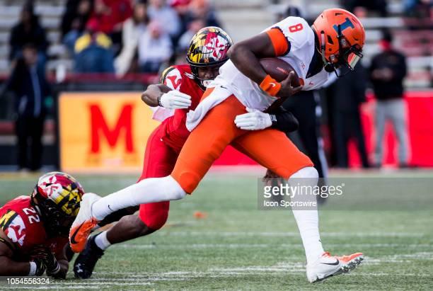 Maryland Terrapins defensive back Darnell Savage Jr pulls down Illinois Fighting Illini quarterback MJ Rivers II during a Big10 football game between...