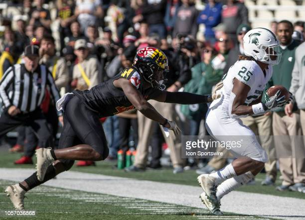 Maryland Terrapins defensive back Darnell Savage Jr pushes into Michigan State Spartans wide receiver Darrell Stewart Jr during a Big10 football game...