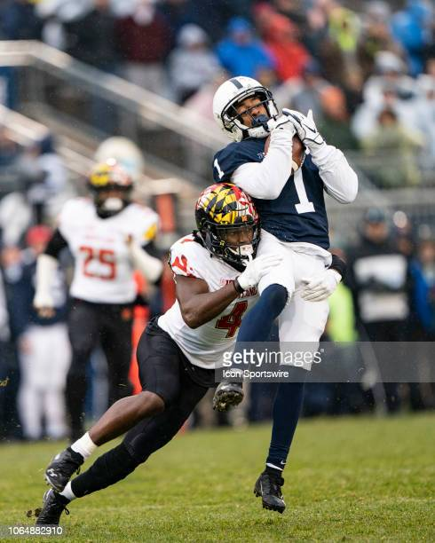 Maryland Terrapins Defensive Back Darnell Savage Jr tackles Penn State Nittany Lions Wide Receiver KJ Hamler after he made a catch during the first...