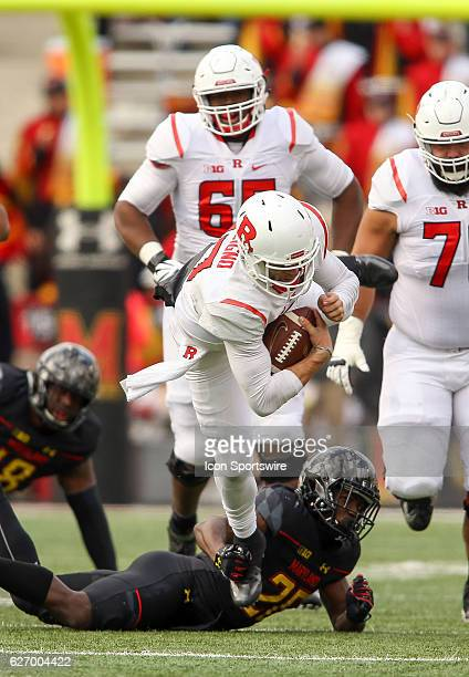 Maryland Terrapins defensive back Darnell Savage Jr takes down Rutgers Scarlet Knights quarterback Giovanni Rescigno during a Big 10 football game on...