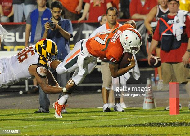 Maryland Terrapins defensive lineman AJ Francis can't stop Miami Hurricanes quarterback Stephen Morris as he dives in to the endzone for a touchdown...