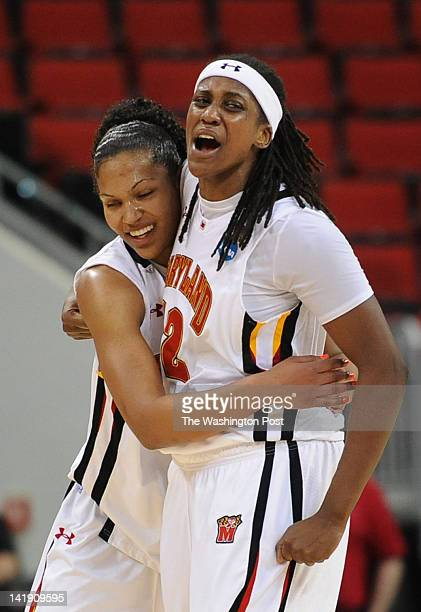 Maryland Terrapins forward Alyssa Thomas left and Maryland Terrapins center Lynetta Kizer right embrace after winning their Regional Semifinal game...