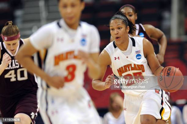 Maryland Terrapins forward Alyssa Thomas runs the ball down court during a Regional Semifinal game of the Women's NCAA basketball tournament at PNC...