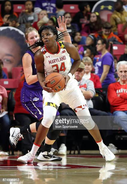 Maryland Terrapins forward Brianna Fraser turns on Niagara Purple Eagles forward Kaylee Stroemple during a women's college basketball game between...
