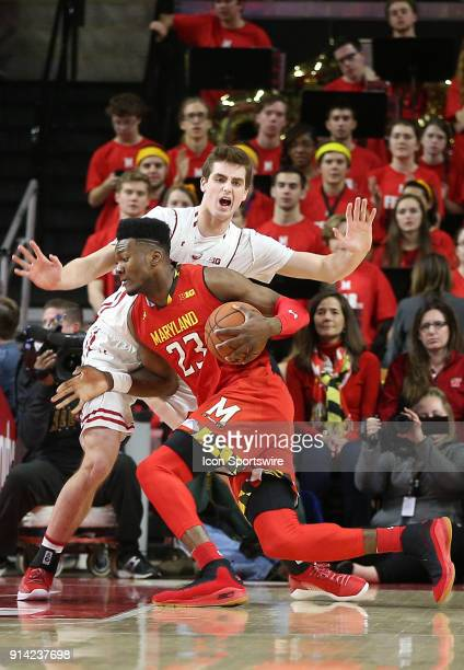 Maryland Terrapins forward Bruno Fernando charges past Wisconsin Badgers forward Nate Reuvers in the first half during a Big 10 men's basketball game...