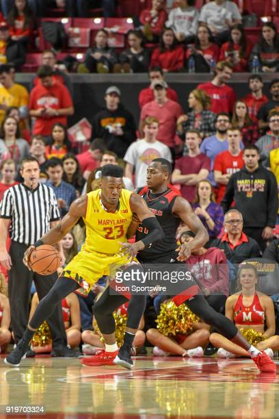 Maryland Terrapins forward Bruno Fernando drives on Rutgers Scarlet Knights forward Mamadou Doucoure in the first half on February 17 at Xfinity...