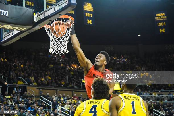 Maryland Terrapins forward Bruno Fernando goes in for a slam dunk during the Michigan Wolverines game versus the Maryland Terrapins on Monday January...