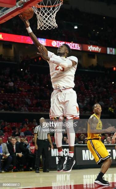 Maryland Terrapins forward Bruno Fernando goes up for an easy shot during a men's college basketball game between the University of Maryland...