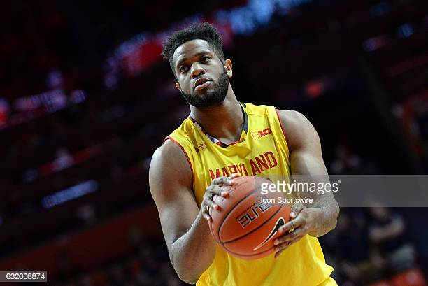 Maryland Terrapins forward Damonte Dodd shoots a free throw during the Big Ten Conference game against the Illinois Fighting Illini on January 14 at...