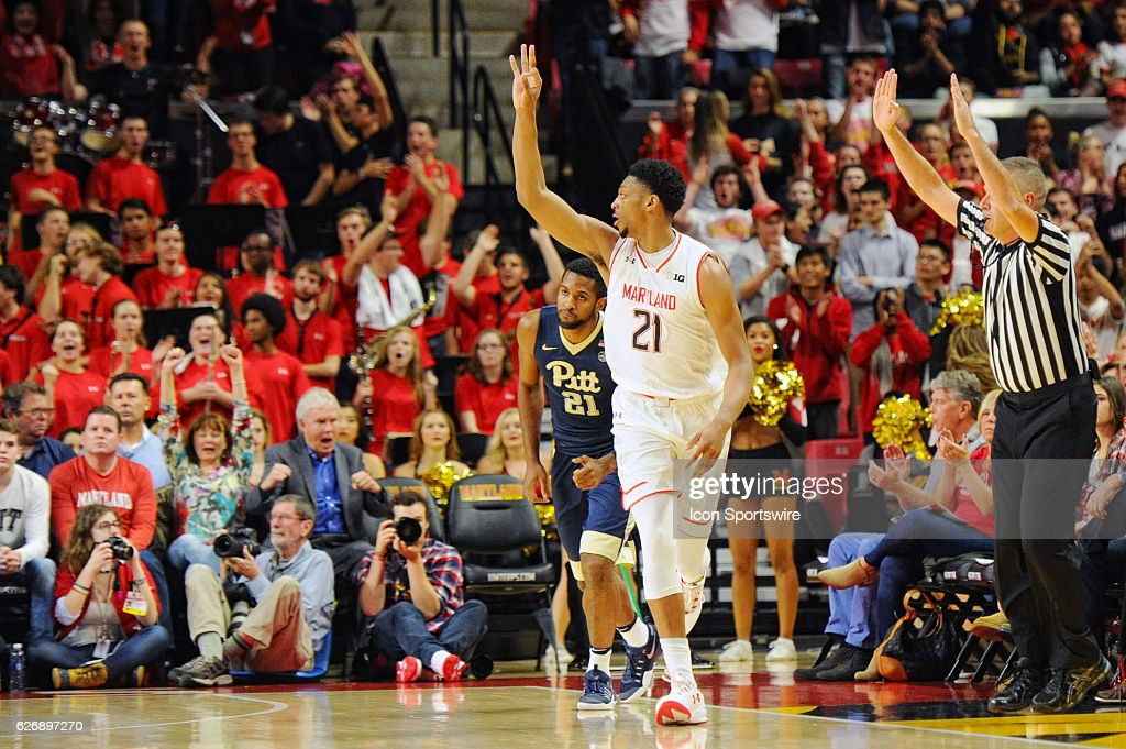 Maryland Terrapins forward Justin Jackson (21) celebrates after making a three point basket in the first half against the Pittsburgh Panthers on November 29, 2016, at Xfinity Center in College Park, MD.