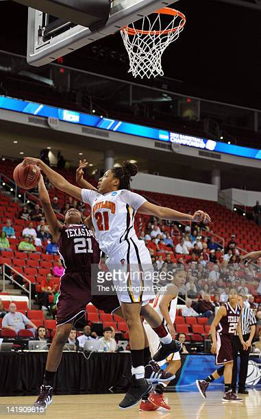 Maryland Terrapins forward Tianna Hawkins jumps in to block the shot by Texas AampM Aggies forward Adaora Elonu during a Regional Semifinal game of...