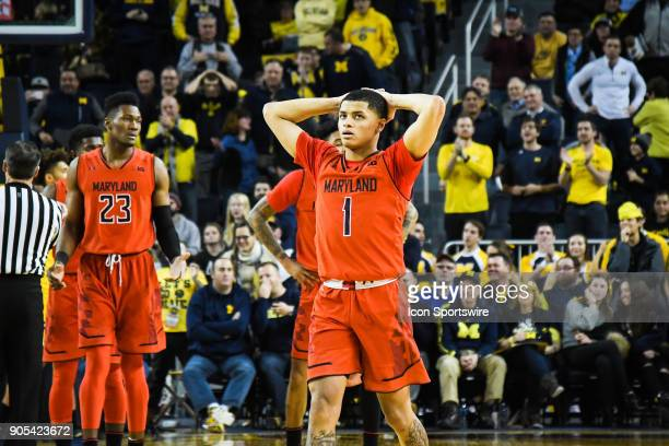 Maryland Terrapins guard Anthony Cowan can't believe a foul was called on his team with 12 seconds to play during the Michigan Wolverines game versus...