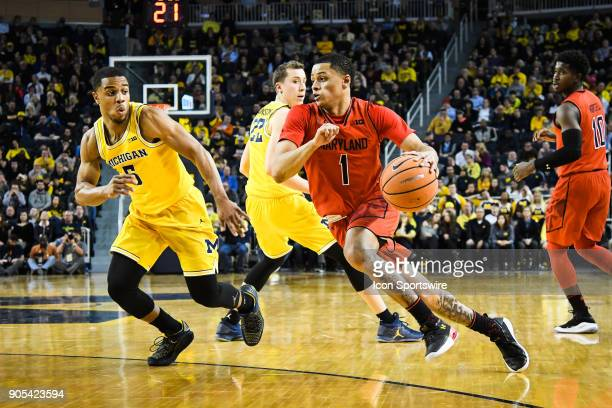 Maryland Terrapins guard Anthony Cowan drives to the basket during the Michigan Wolverines game versus the Maryland Terrapins on Monday January 15...