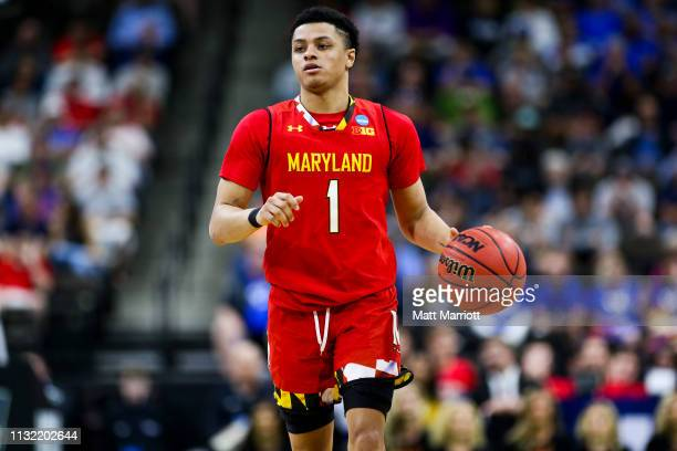 Maryland Terrapins guard Anthony Cowan Jr dribbles the ball during a game against the LSU Tigers at VyStar Veterans Memorial Arena on March 23 2019...