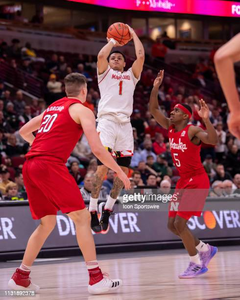 Maryland Terrapins guard Anthony Cowan Jr goes up for a shot during a Big Ten Tournament game between the Nebraska Cornhuskers and the Maryland...