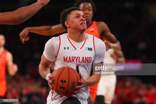 Maryland Terrapins guard Anthony Cowan Jr in action during the Big Ten Super Saturday College Basketball game between the Maryland Terrapins and the...
