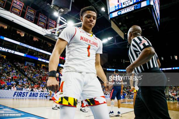 Maryland Terrapins guard Anthony Cowan Jr reacts after a play during a game against the Belmont Bruins in the first round of the 2019 NCAA Photos via...