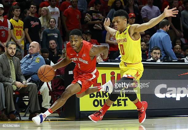 Maryland Terrapins guard Anthony Cowan lets Stony Brook Seawolves guard UC Iroegbu go past during an NCAA men's basketball game on November 22 at...