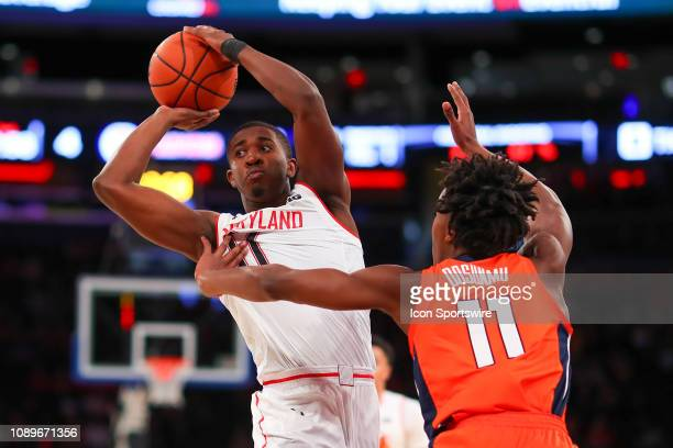 Maryland Terrapins guard Darryl Morsell controls the ball during the first half of the Big Ten Super Saturday College Basketball game between the...