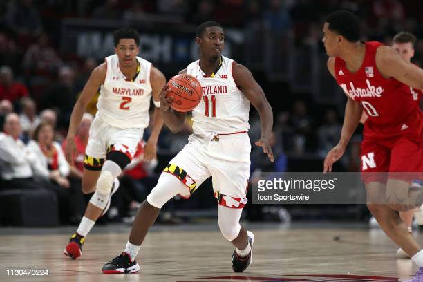 Maryland Terrapins guard Darryl Morsell dribbles the ball in action during a Big Ten Tournament game between the Nebraska Cornhuskers and the...