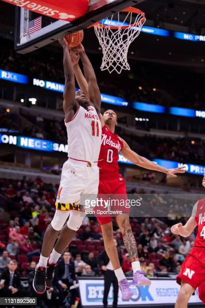 Maryland Terrapins guard Darryl Morsell goes up for a shot during a Big Ten Tournament game between the Nebraska Cornhuskers and the Maryland...