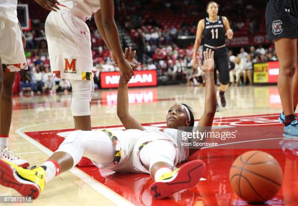 Maryland Terrapins guard Ieshia Small flat on her back during a women's college basketball game between the Maryland Terrapins and the South Carolina...