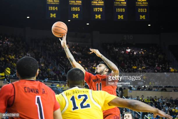 Maryland Terrapins guard Jared Nickens puts up a short jumper during the Michigan Wolverines game versus the Maryland Terrapins on Monday January 15...