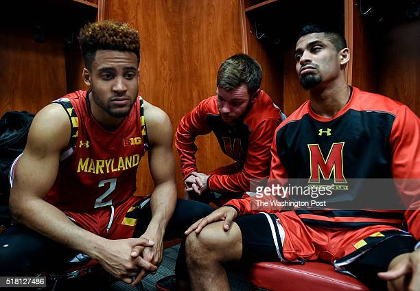 Maryland Terrapins guards Melo Trimble Trevor Anzmann and guard Varun Ram in the locker room after the Terrapins lost their Sweet Sixteen game...
