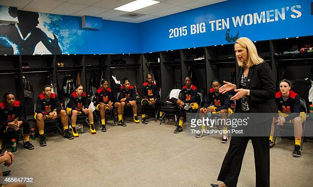 Maryland Terrapins head coach Brenda Frese rallies the team in the locker room prior to the finals of the Big Ten Women's Tournament at the Sears...