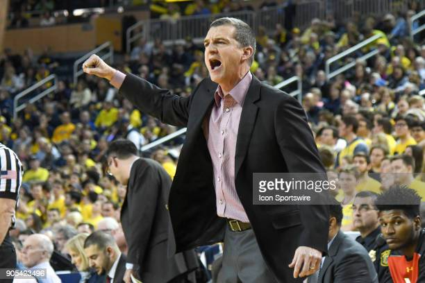 Maryland Terrapins head coach Mark Turgeon complains to the referee during the Michigan Wolverines game versus the Maryland Terrapins on Monday...