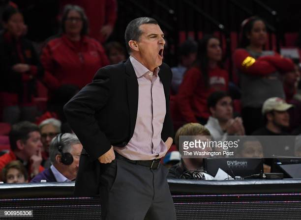 Maryland Terrapins head coach Mark Turgeon disagrees with a call during the game between the Maryland Terrapins and the Penn State Nittany Lions at...