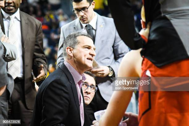 Maryland Terrapins head coach Mark Turgeon gives instructions during a timeout in the Michigan Wolverines game versus the Maryland Terrapins on...