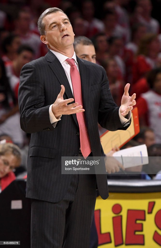 Maryland Terrapins head coach Mark Turgeon reacts to his teams play in the first half against the Iowa Hawkeyes on February 25, 2017, at Xfinity Center in College Park, MD.
